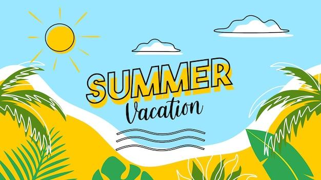 Summer vibes summer time banner na czas letni z kwiatowym i tropikalnym płaskim wzorem