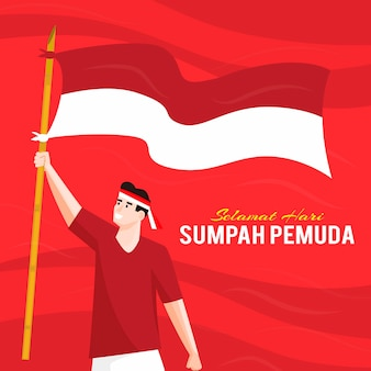 Sumpah pemuda z mężczyzną trzymającym flagę