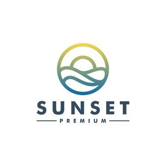 Sun sunset logo szablon wektor ikona logotyp