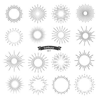 Sunburst czarny zestaw na białym tle. ilustracja