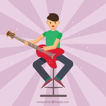 Sunburst tle facet z gitara elektryczna
