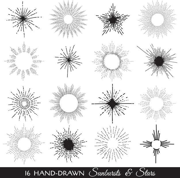 Sunbursts i gwiazdy ręcznie rysowane ilustracji