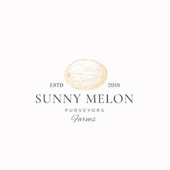 Sunny melon farms streszczenie logo szablon.