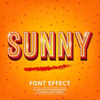 Sunny vintage efekt tekstowy bogaty w tekst 3d