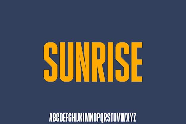 Sunrise, futurystyczna czcionka, nowoczesny i silny, sportowy alfabet