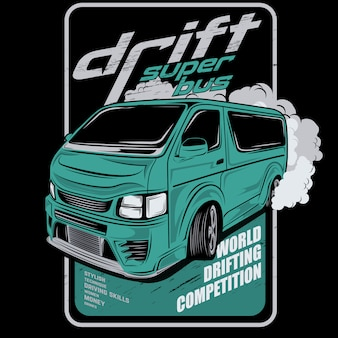 Super autobusowy dryf, samochodowa wektorowa ilustracja