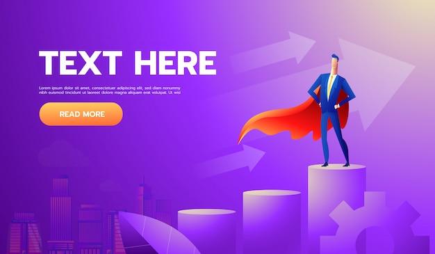 Super biznesmen lub menedżer stojący na szczycie wykresu