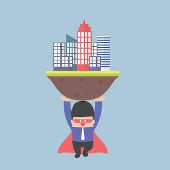 Super biznesmen niesie miasto