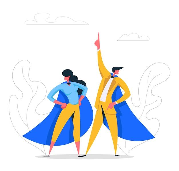 Super bohaterów ludzi biznesu znaków ilustracja cape