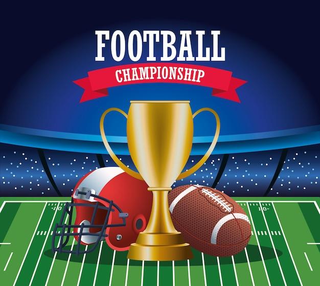 Super bowl futbol amerykański sport napis z ilustracją trofeum i sprzętu