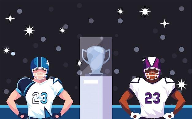 Super bowl graczy z kaskiem przed trybuną ilustracji