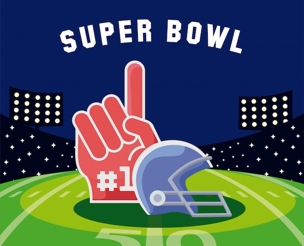 Super bowl kask i rękawiczki nad polem ilustracji