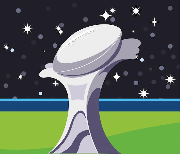 Super bowl trofeum przed trybuna ilustracją