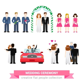 Super ceremonia ślubna małżeństwo mieszkanie styl ludzie zestaw nowożeńcy żona mąż panna młoda pan młody drużba drużba drużba woźnica miesiąc miodowy kreatywna koncepcyjna kolekcja ilustracji
