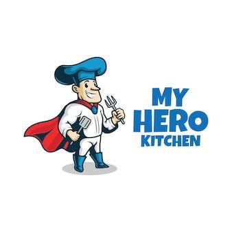 Super chef z widelcem i łopatką. maskotka bohatera szefa kuchni.