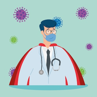 Super doktor mężczyzna z płaszczem bohatera i cząsteczkami covid 19