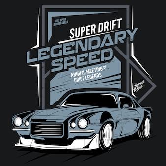 Super drift, legendarna prędkość, ilustracja klasycznego szybkiego samochodu