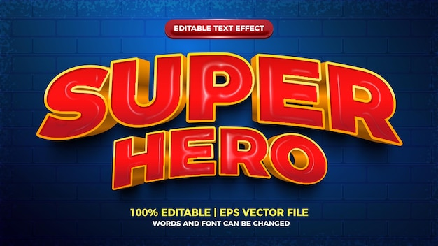 Super hero cartoon pogrubiony efekt 3d edytowalny tekst
