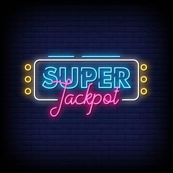 Super jackpot neonowe znaki styl tekst wektor