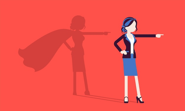 Super kobieta w pozie bohatera. odnosząca sukcesy menedżerka podziwiana za odwagę, wybitne osiągnięcia biznesowe, cień, dumę, samozadowolenie. ilustracja wektorowa, postacie bez twarzy