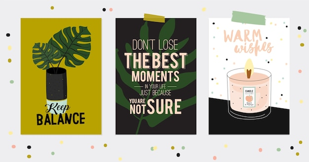 Super ładny zestaw kart hygge i plakatów. śliczne ilustracja elementy hygge jesień i zima. odosobniony. motywacyjna typografia cytatów hygge. styl skandynawski