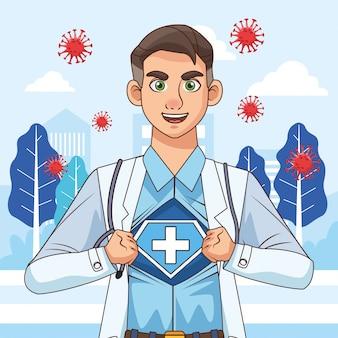 Super lekarz rozpina koszulę i płaszcz vs covid19