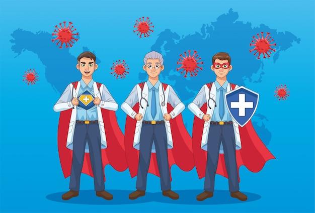 Super lekarze z płaszczem bohatera i tarczą vs covid19