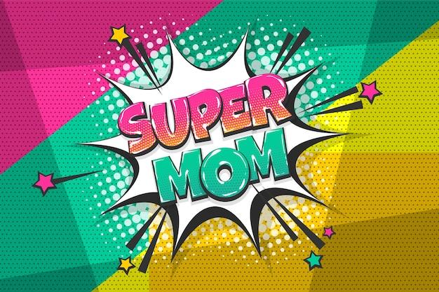 Super mama dzień matki wow kolorowy komiks kolekcja tekstów efekty dźwiękowe styl pop-art dymek