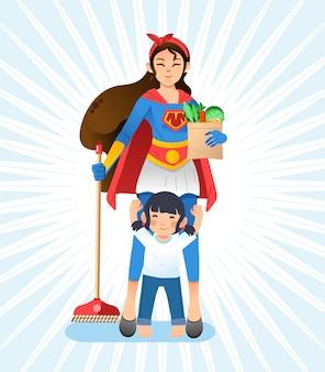 Super mama, matka w kostiumie superbohatera trzymająca miotłę i artykuły spożywcze, córeczka stojąca przed matką i podnosząca rękę. używany do plakatów, okładek książek i innych