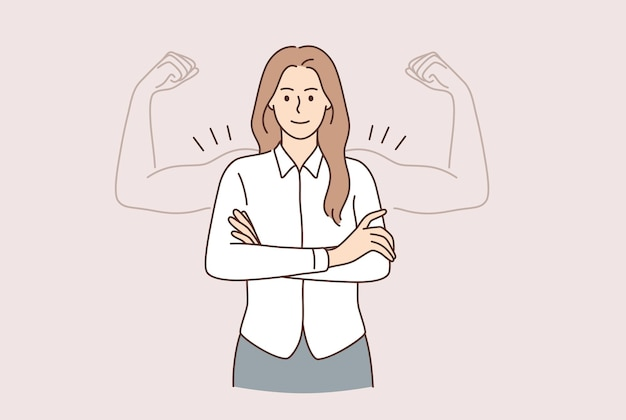 Super moc koncepcji kobiety. młoda uśmiechnięta kobieta postać z kreskówki stojąca z rękami skrzyżowanymi i silnymi bicepsami jako cień ilustracji wektorowych