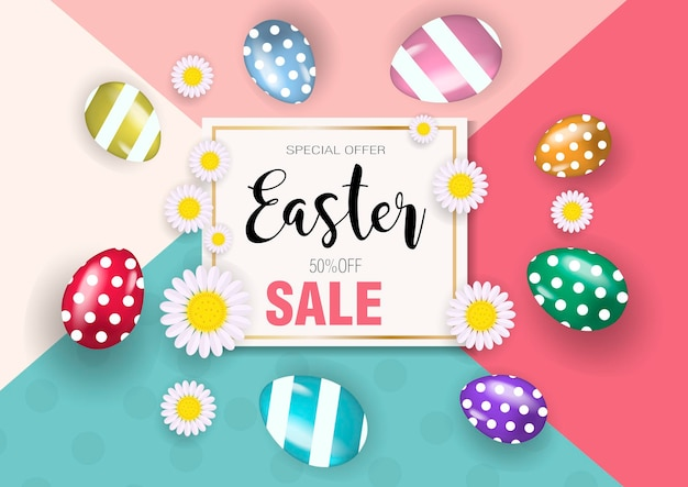 Super oferta wesołych świąt wielkanocnych, rabaty, promocja z realistycznymi kolorowymi jajkami.