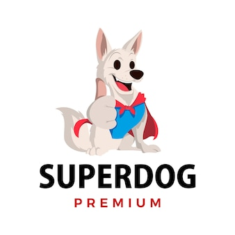 Super pies wali maskotka logo ikona ilustracja