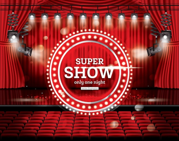 Super pokaz. otwórz czerwone zasłony z reflektorami. ilustracja wektorowa. scena teatralna, operowa lub kinowa