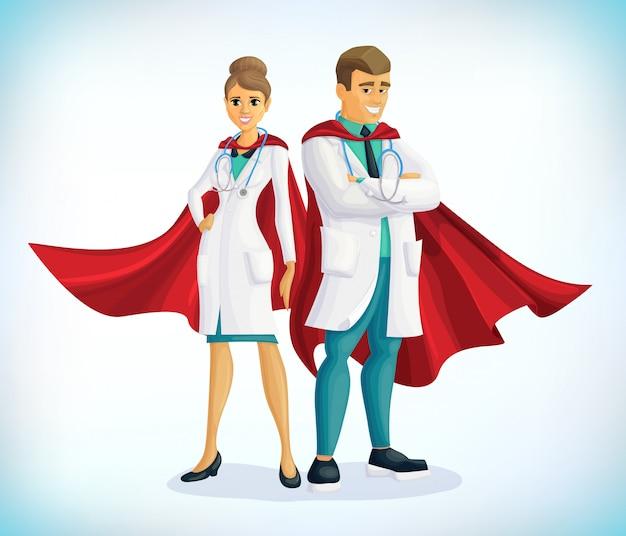 Super postać z kreskówki lekarz. lekarz superbohatera z płaszczami bohatera. pojęcie opieki zdrowotnej. pojęcie medyczne. pierwsza pomoc. pracownicy służby zdrowia a covid19
