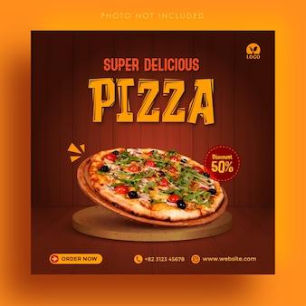 Super pyszna sprzedaż pizzy social media instagram post banner reklamowy szablon