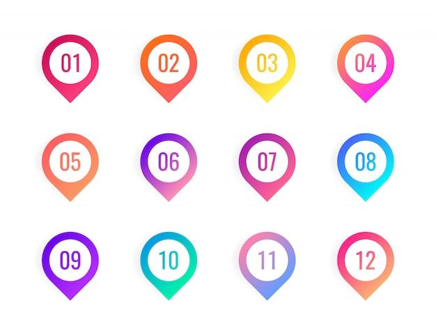 Super set point na białym tle. kolorowe markery gradientowe o liczbie od 1 do 12.