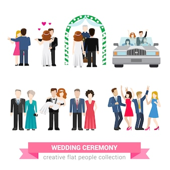 Super ślub ceremonia ślubna płaski zestaw ludzi. nowożeńcy, żona, mąż, panna młoda, pan młody, pan młody, taniec, drużba, druhna, zaprosić na miesiąc miodowy. kolekcja kreatywnych ilustracji koncepcyjnych