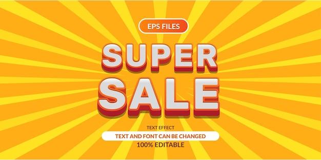 Super sprzedaż 3d edytowalny efekt tekstowy. plik wektorowy eps. pomarańczowy żółty biały kolor banner promocji