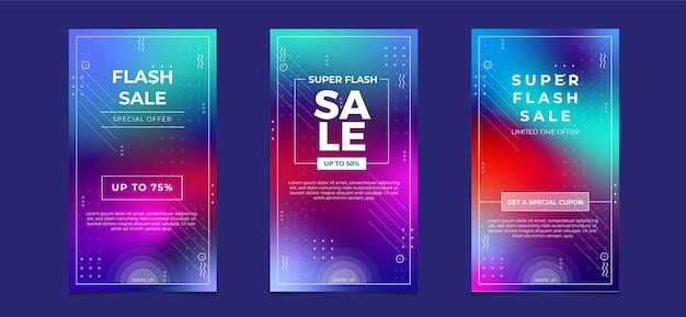 Super sprzedaż baner opowiadań na instagramie w mediach społecznościowych w kolorze gradientu
