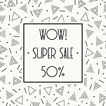 Super sprzedaż banner memphis. rabat do 50 procent zniżki. kupuj teraz. za pół ceny.