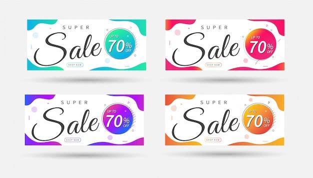 Super sprzedaż banner. sprzedaż szablonów transparentu projektu.