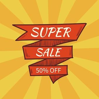 Super sprzedaż banner. styl retro. ilustracji wektorowych. sprzedaż specjalnych reklam