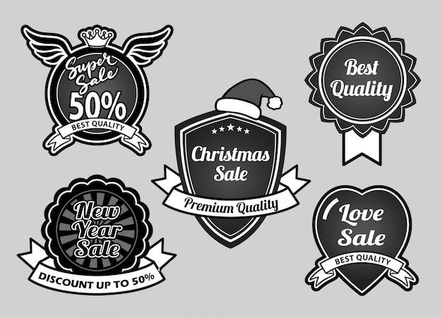 Super sprzedaż, boże narodzenie, szczęśliwego nowego roku i odznaki najlepszej jakości zdarzeń