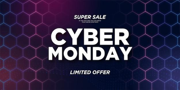 Super sprzedaż cyber poniedziałek transparent z kolorowym sześciokątnym tle 3d