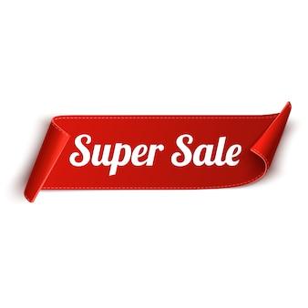Super sprzedaż czerwoną wstążką banner