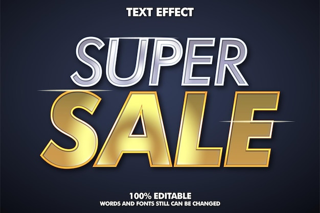 Super sprzedaż edytowalny efekt tekstowy srebrny i złoty efekt tekstowy super sprzedaż tła