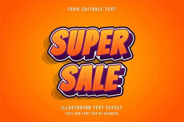 Super sprzedaż, efekt edytowalnego tekstu 3d żółty gradacja pomarańczowy czerwony efekt komiksowy