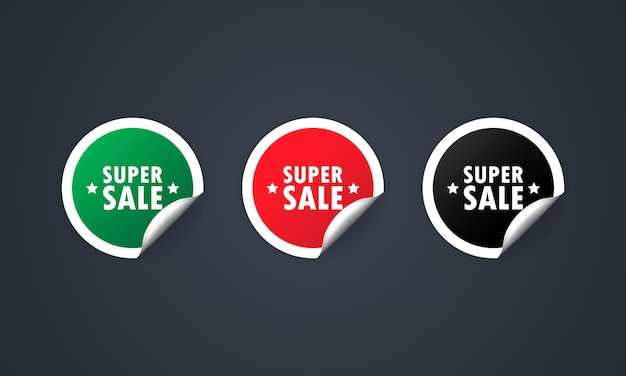 Super sprzedaż etykiet rabat zestaw ilustracji