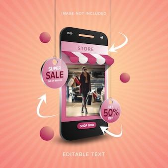 Super sprzedaż koncepcja zakupów online na telefon komórkowy