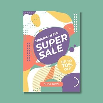 Super sprzedaż plakat, baner. wielka wyprzedaż, wyprzedaż. 70% zniżki. ilustracja wektorowa.